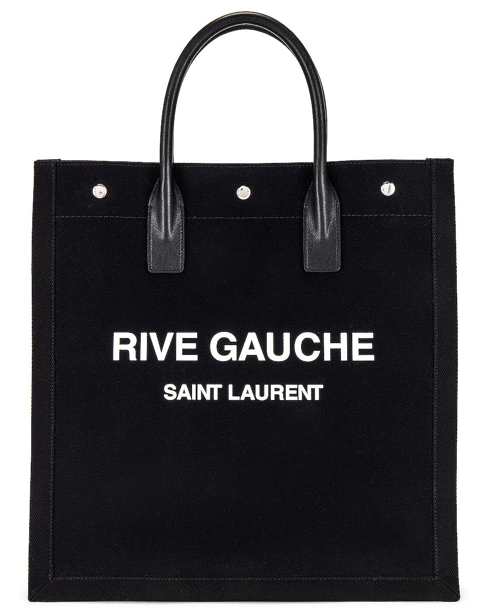 Image 1 of Saint Laurent YSL Tote Bag in Black & Bianco & Black