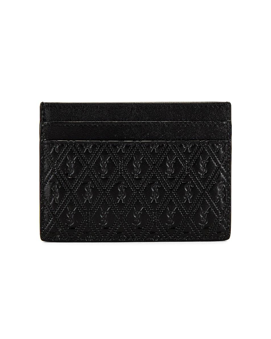 Image 1 of Saint Laurent All Over Monogramme Cardholder in Black
