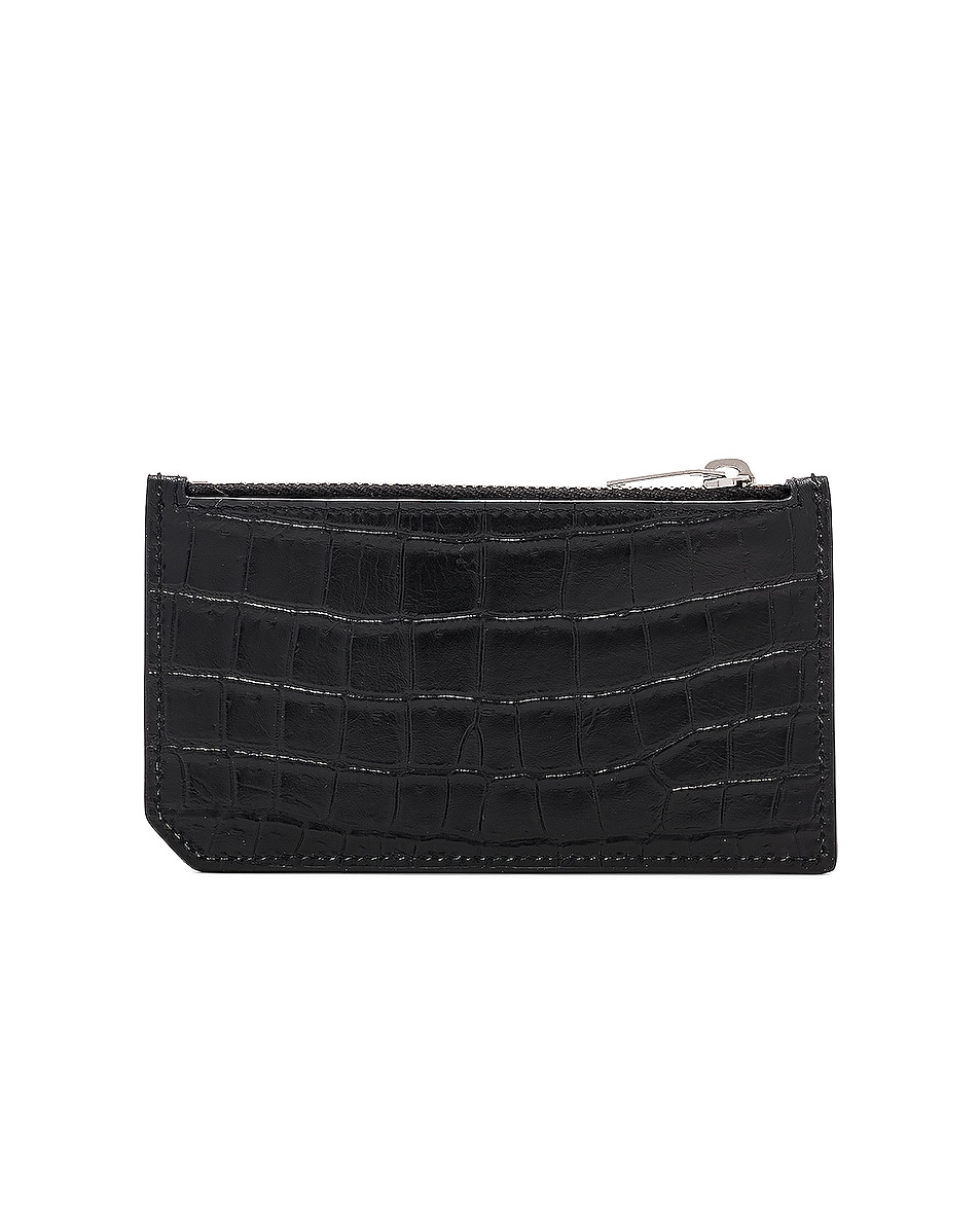 Image 2 of Saint Laurent Matte Croc Zipped Fragments Credit Card Case in Black