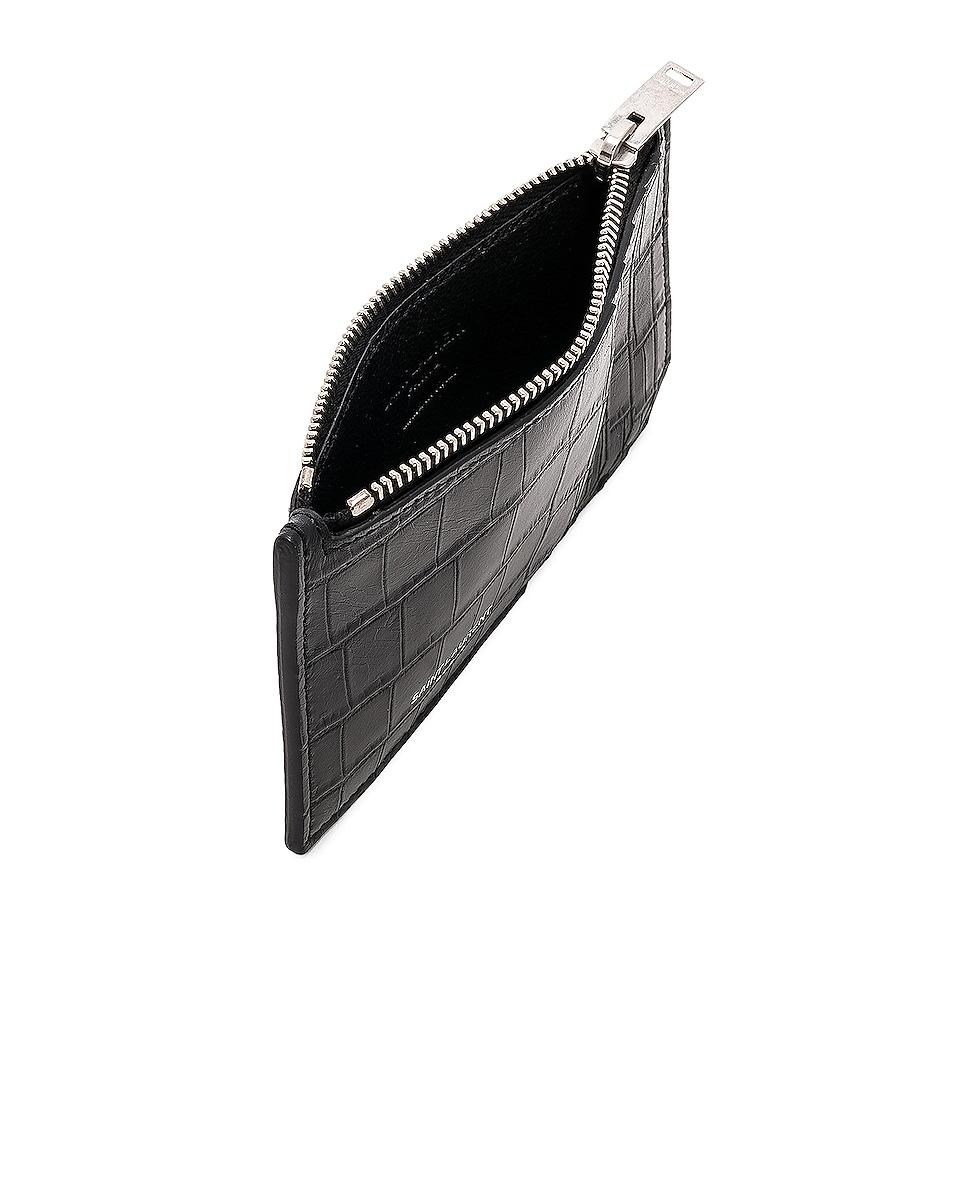 Image 4 of Saint Laurent Matte Croc Zipped Fragments Credit Card Case in Black
