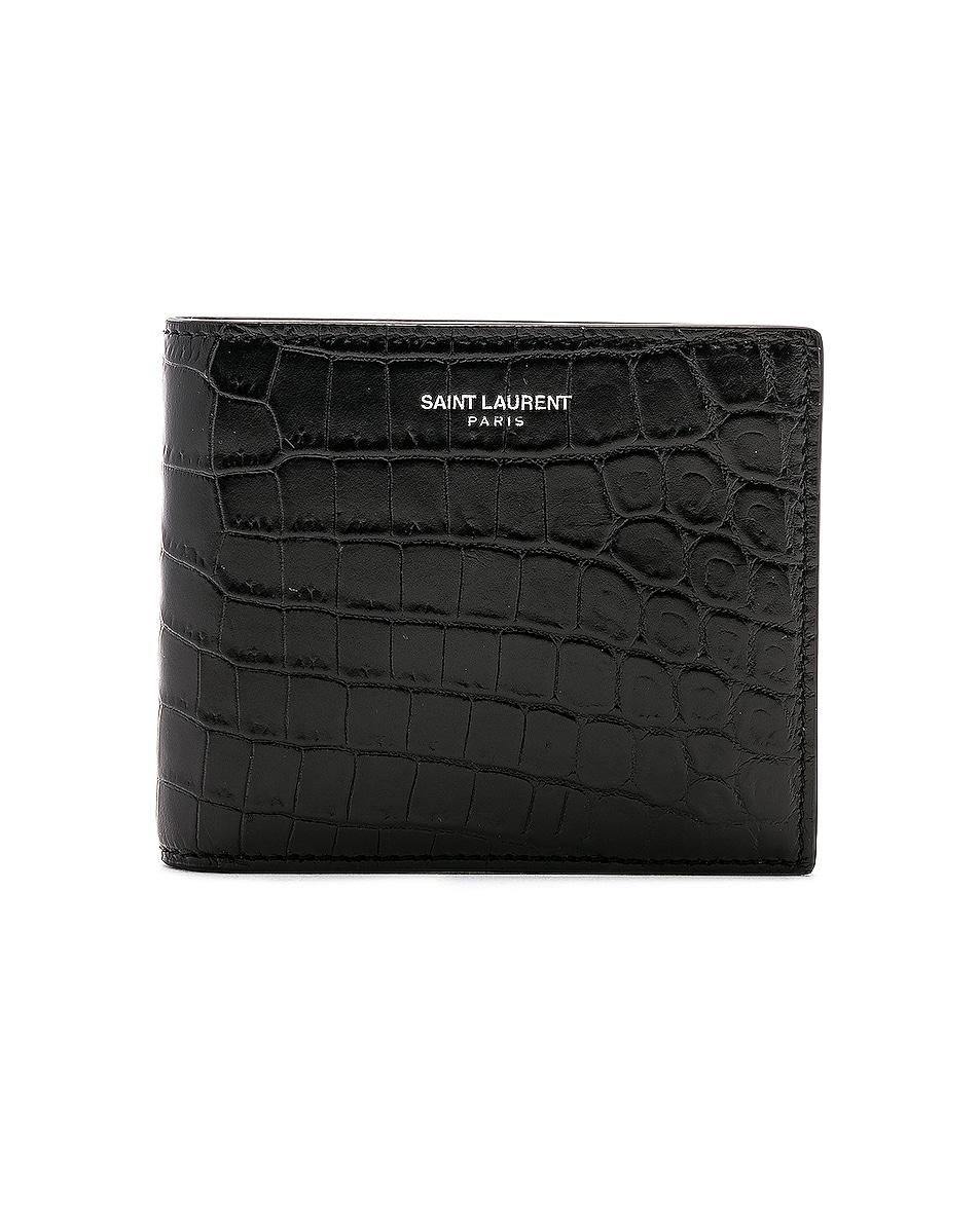 Image 1 of Saint Laurent Matte Croc Billfold Wallet in Black