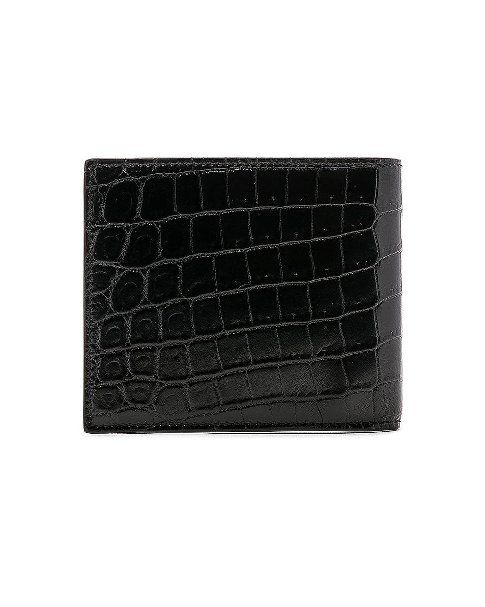 Image 2 of Saint Laurent Matte Croc Billfold Wallet in Black