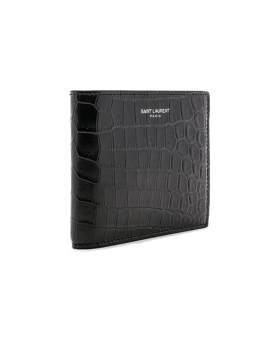 Image 3 of Saint Laurent Matte Croc Billfold Wallet in Black