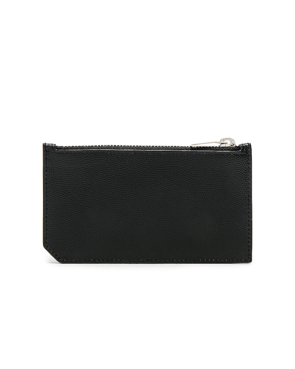 Image 2 of Saint Laurent Zipped Fragments Credit Card Case in Black