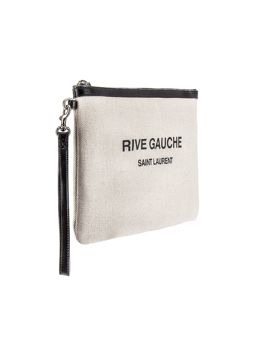 Image 3 of Saint Laurent Rive Gauche Beach Pouch in White & Black