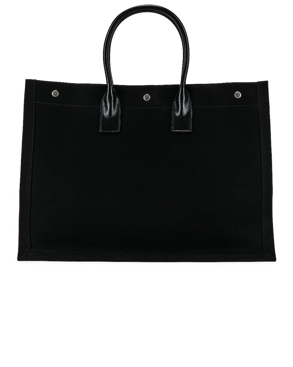 Image 2 of Saint Laurent Noe Large Tote Bag in Black & White