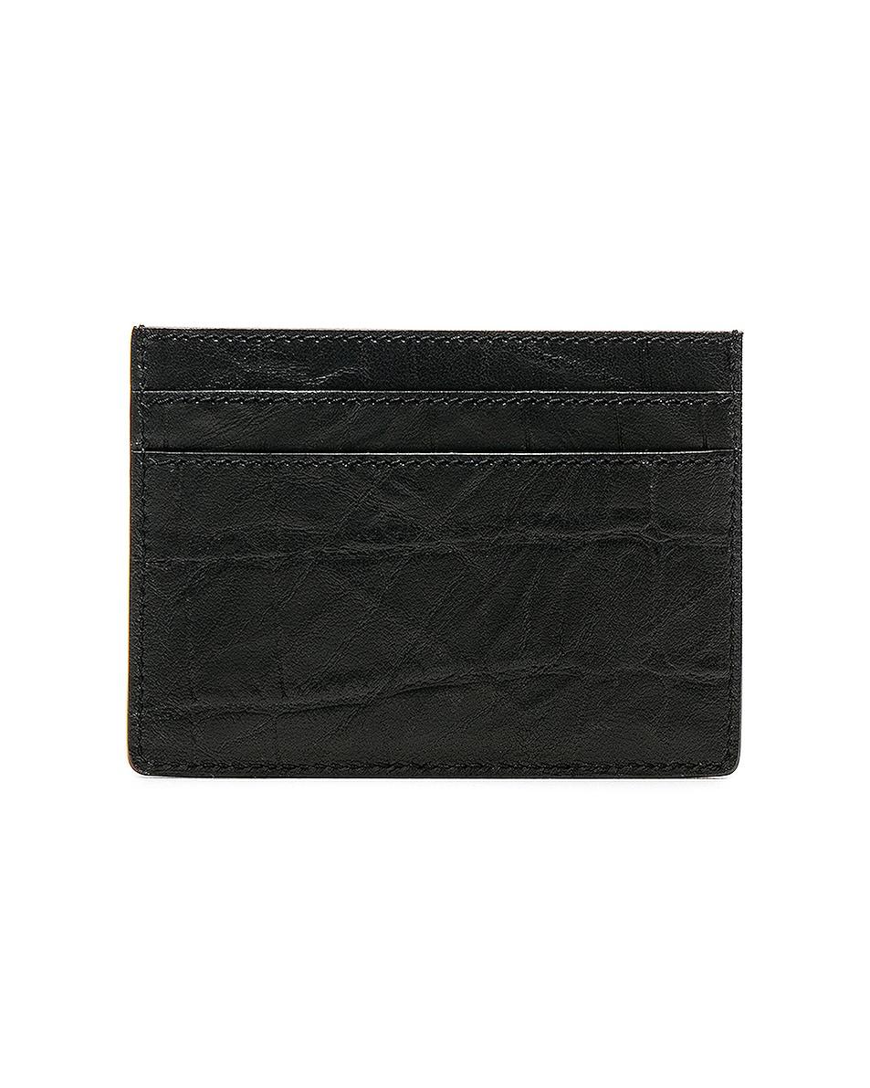 Image 2 of Saint Laurent Croc Embossed Cardholder in Black
