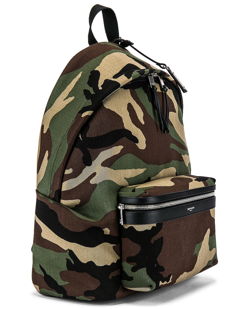 Image 3 of Saint Laurent City Backpack in Camo & Black