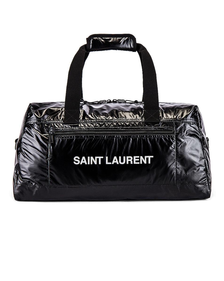 Image 1 of Saint Laurent Nylon Ripstop Duffel Bag in Black & Platinum