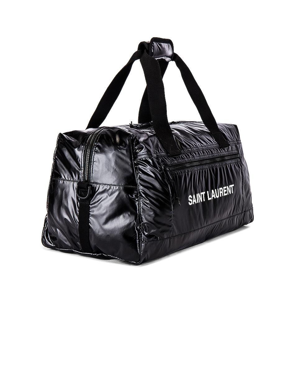 Image 3 of Saint Laurent Nylon Ripstop Duffel Bag in Black & Platinum