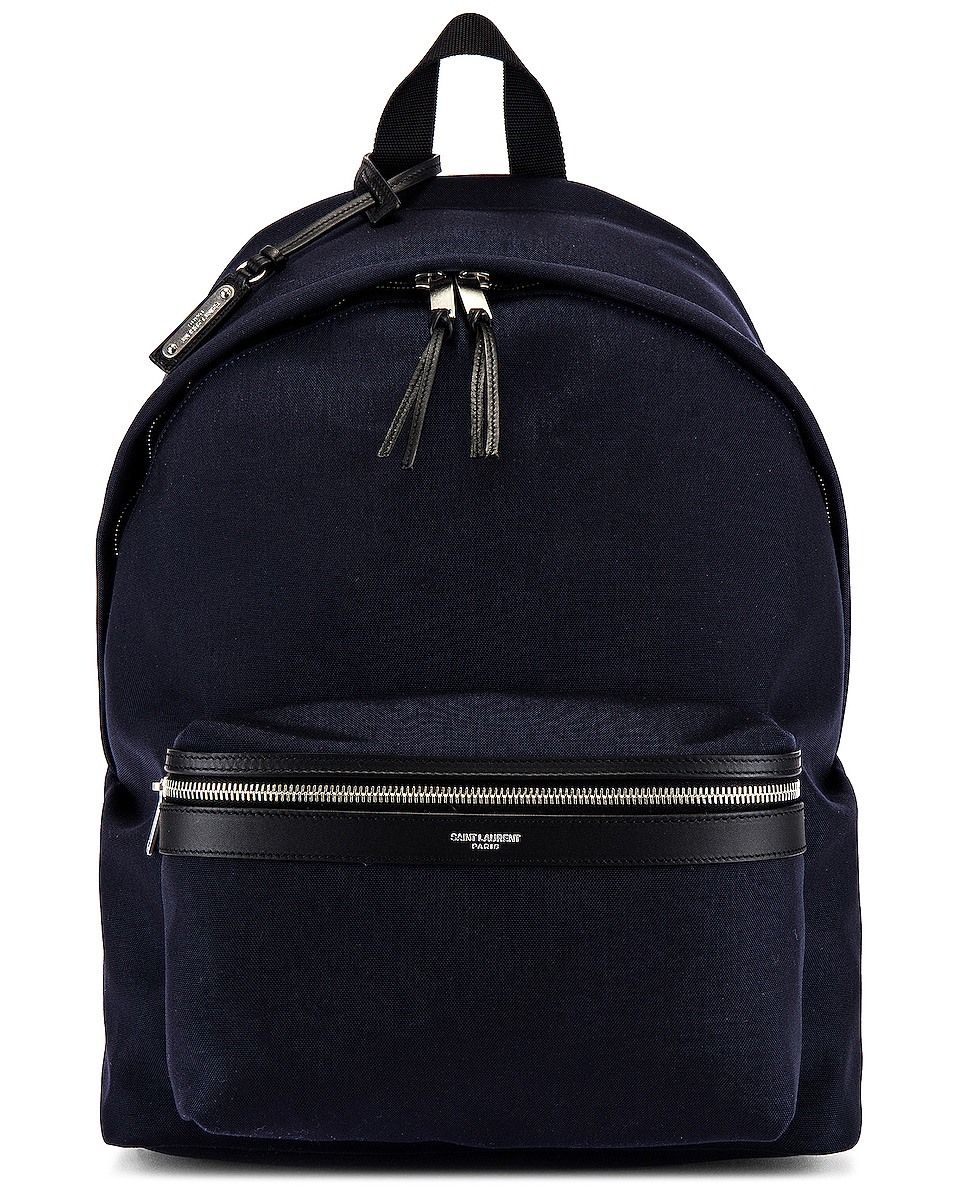 Image 1 of Saint Laurent City Backpack in Midnight Blue & Black
