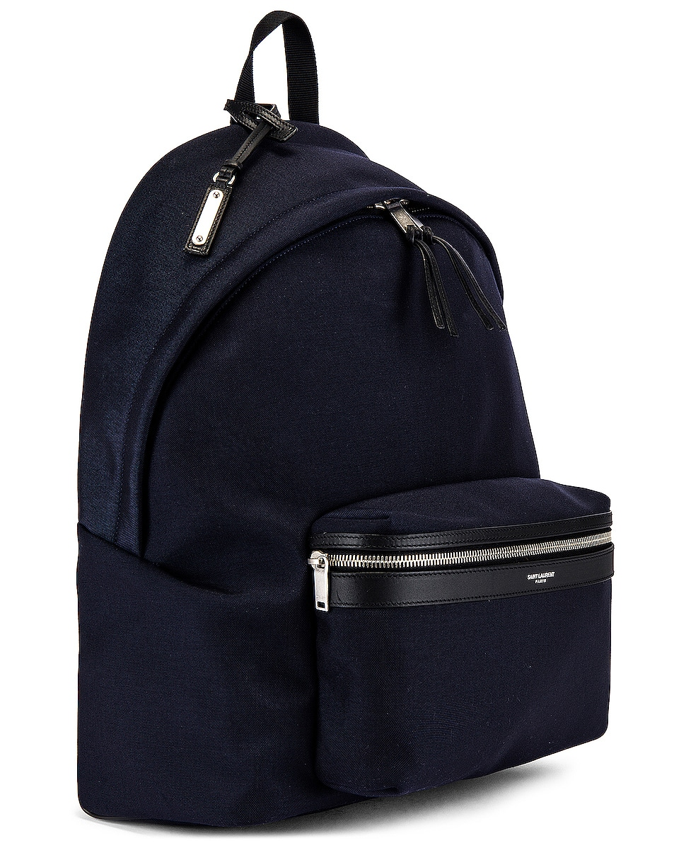 Image 3 of Saint Laurent City Backpack in Midnight Blue & Black