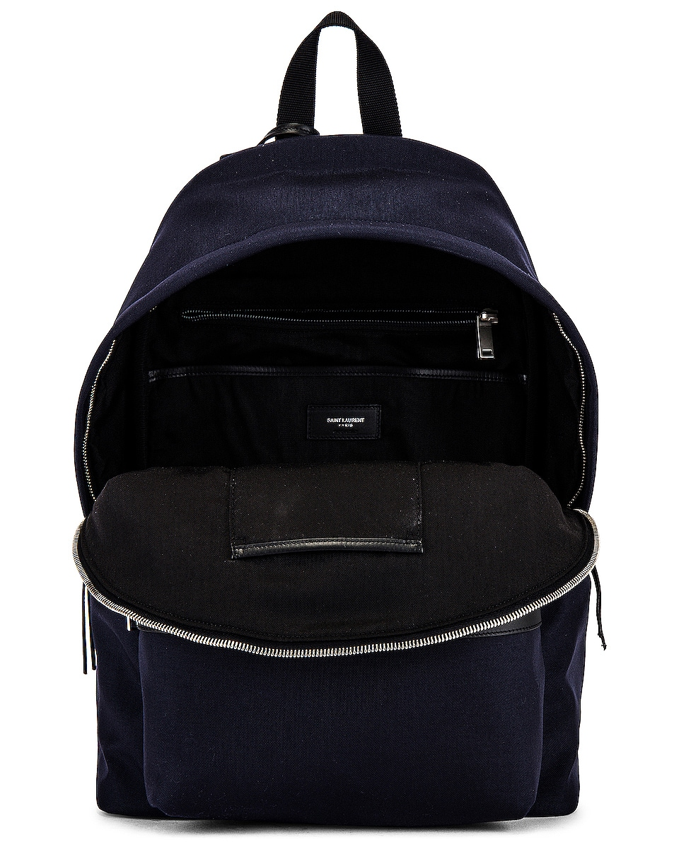 Image 4 of Saint Laurent City Backpack in Midnight Blue & Black