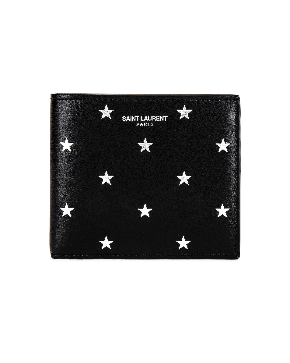 Image 1 of Saint Laurent East West Wallet in Black & Platinum