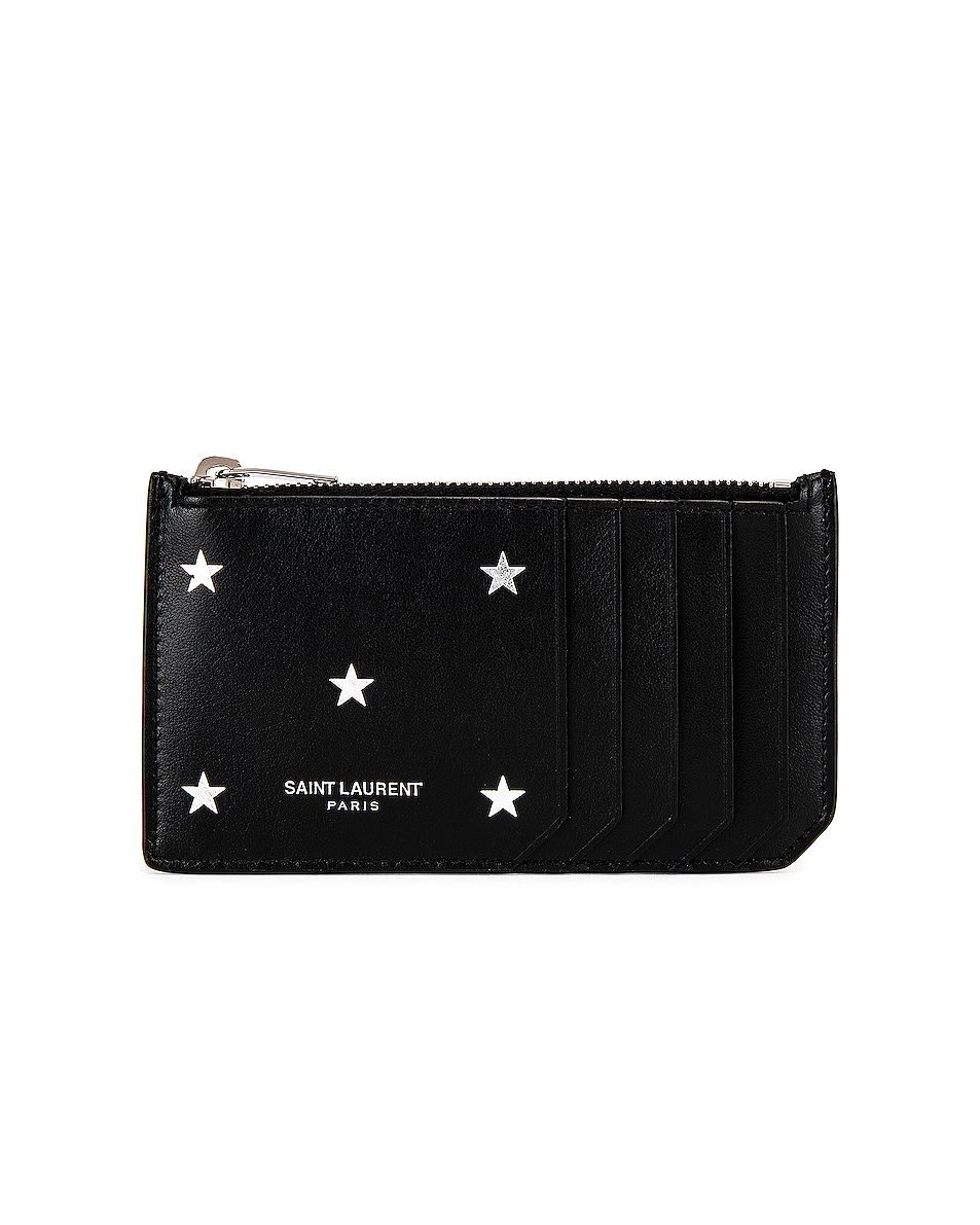 Image 1 of Saint Laurent Zipped Credit Card Case in Black & Platinum