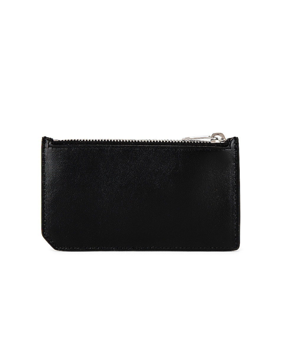 Image 2 of Saint Laurent Zipped Credit Card Case in Black & Platinum