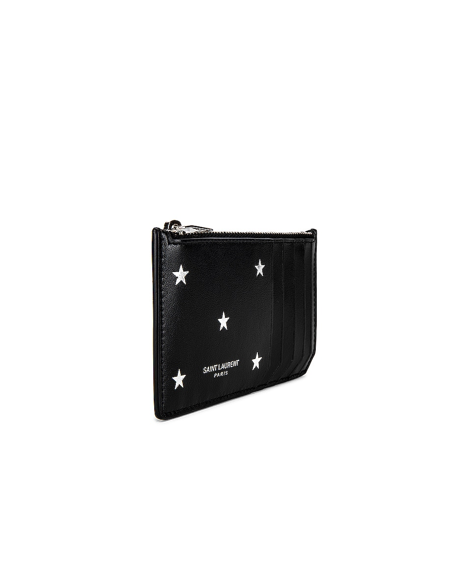 Image 3 of Saint Laurent Zipped Credit Card Case in Black & Platinum