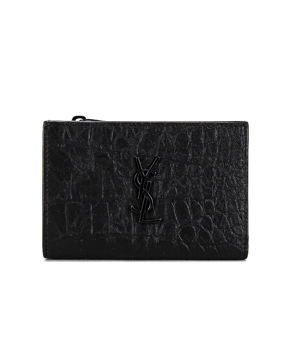 Image 1 of Saint Laurent Bi-Fold Zipped Monogram Wallet in Black