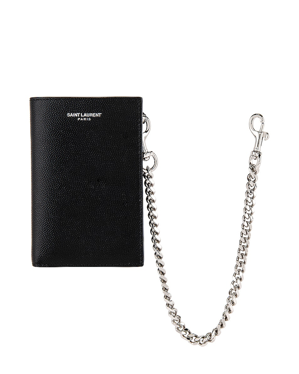 Image 1 of Saint Laurent North South Chain Wallet in Black