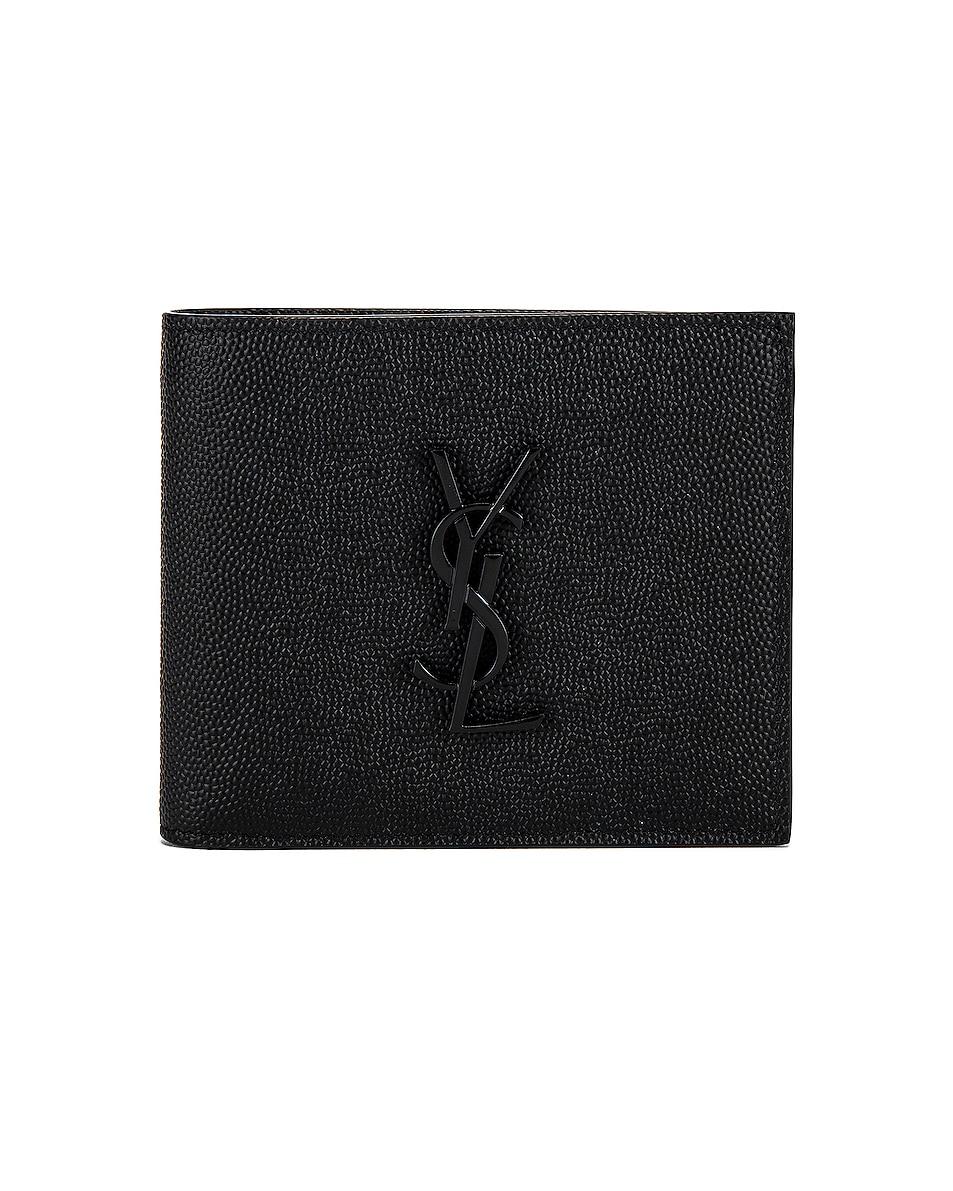 Image 1 of Saint Laurent East West Monogram Wallet in Black