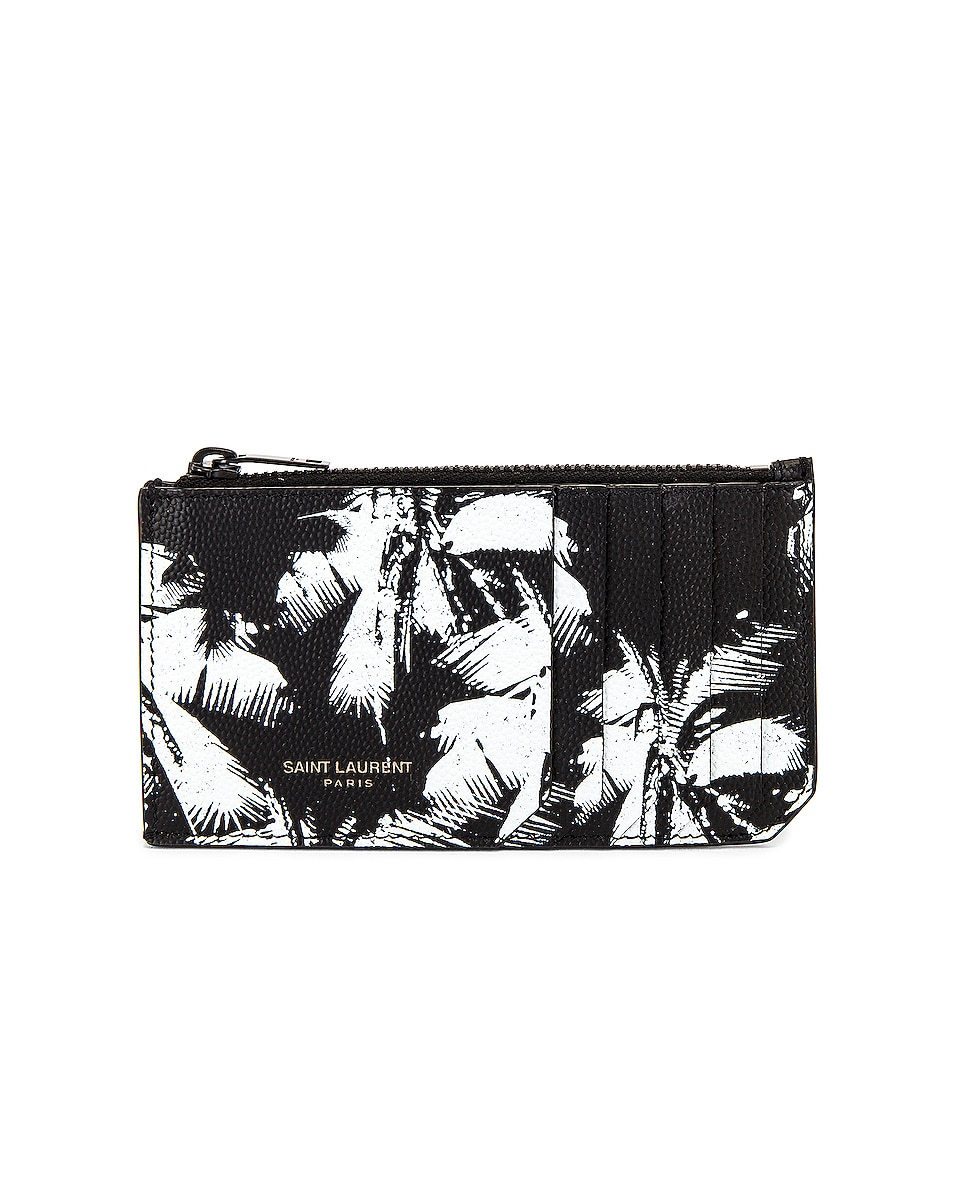 Image 1 of Saint Laurent Credit Card Holder in Black & White