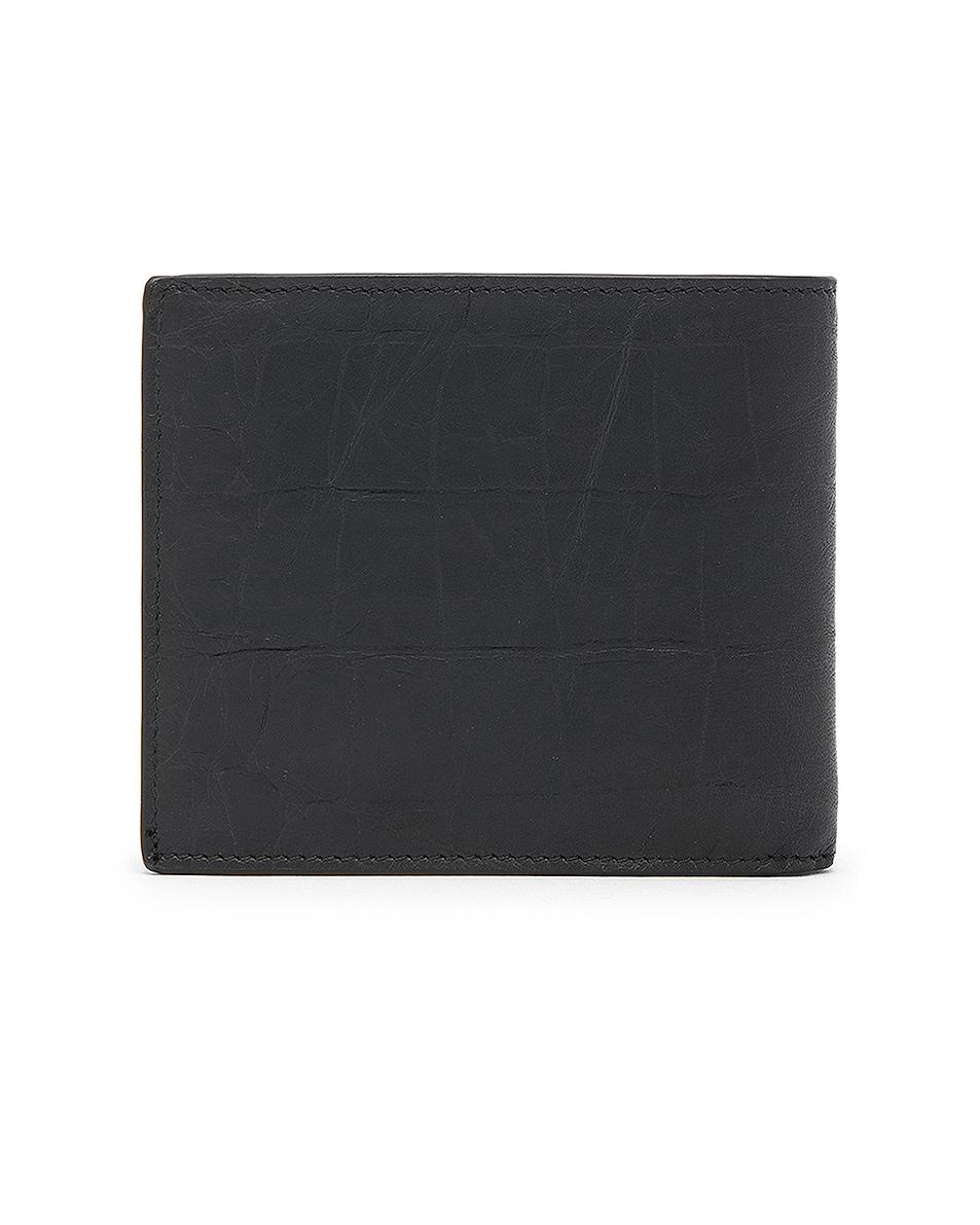 Image 2 of Saint Laurent Croc Embossed Billfold Wallet in Black