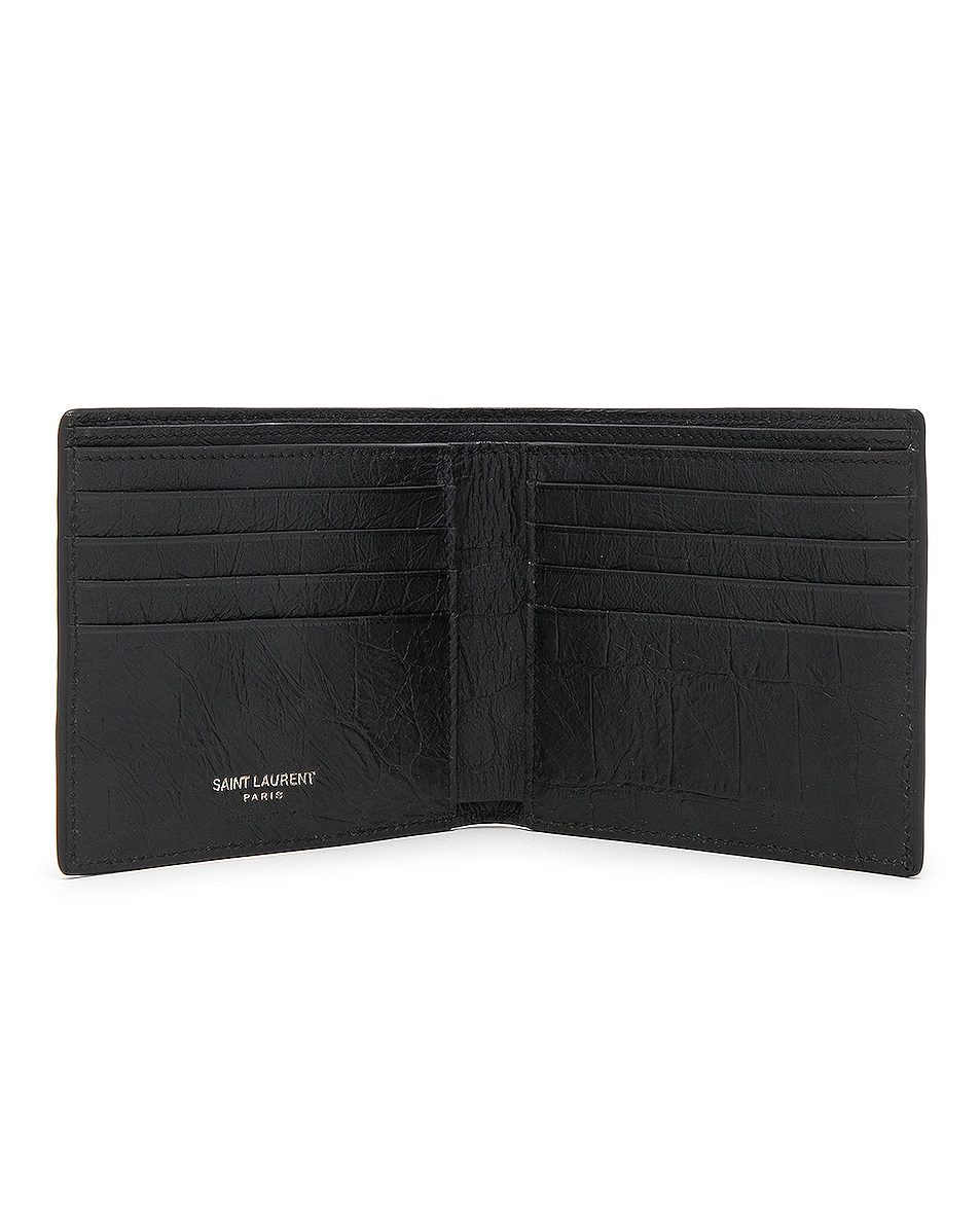 Image 4 of Saint Laurent Croc Embossed Billfold Wallet in Black