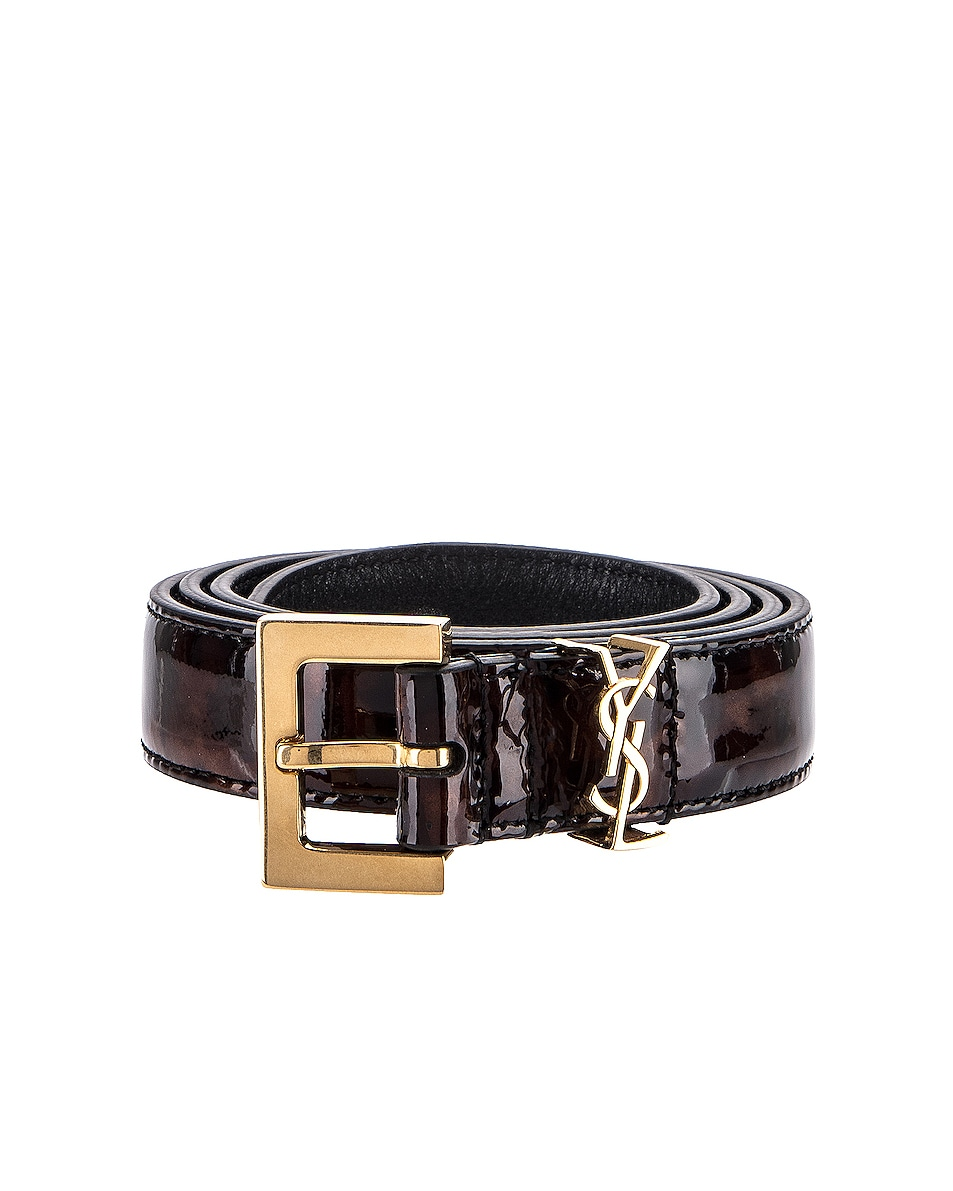 Image 1 of Saint Laurent Leather Belt in Tortoise Brown