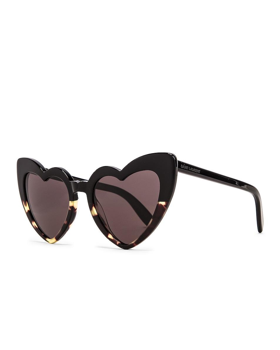 Image 2 of Saint Laurent Lou Lou Sunglasses in Shiny Black & Spotted Havana