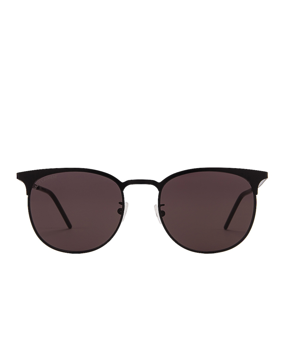 Image 1 of Saint Laurent Slim Club Master Metal Sunglasses in Semimatte Black