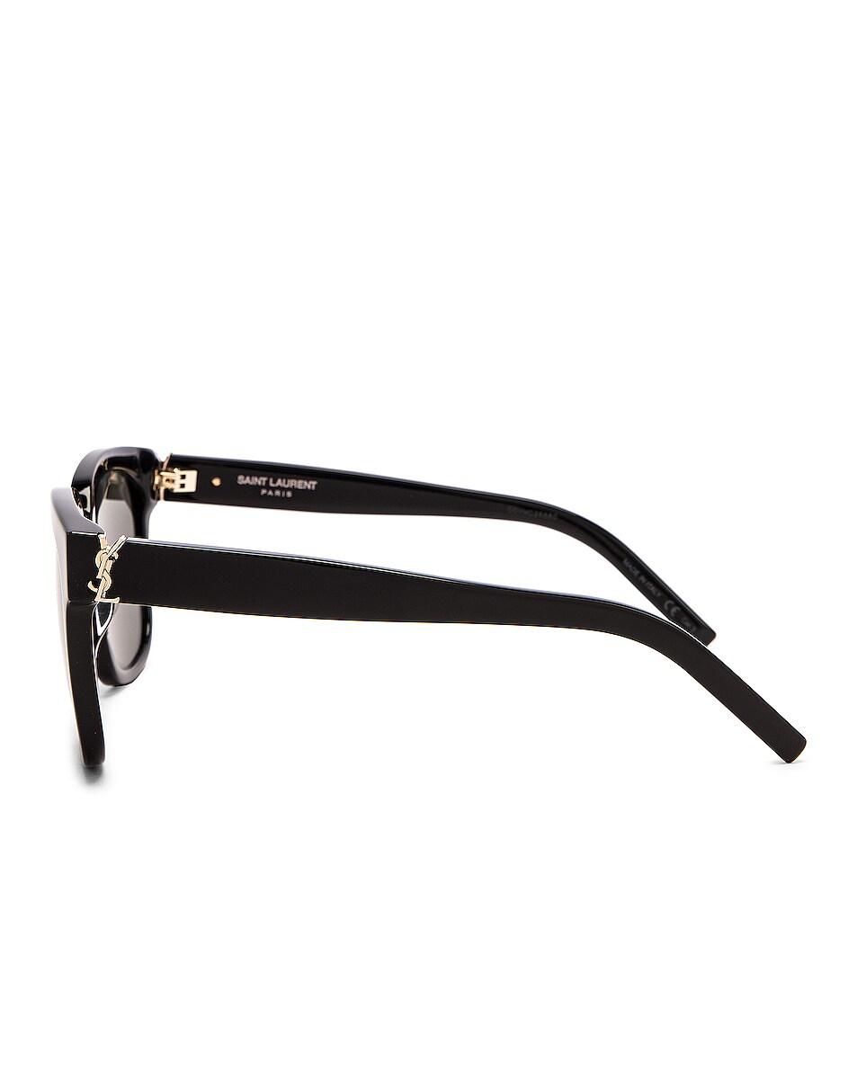 Image 3 of Saint Laurent Square Acetate Sunglasses in Shiny Black & Grey