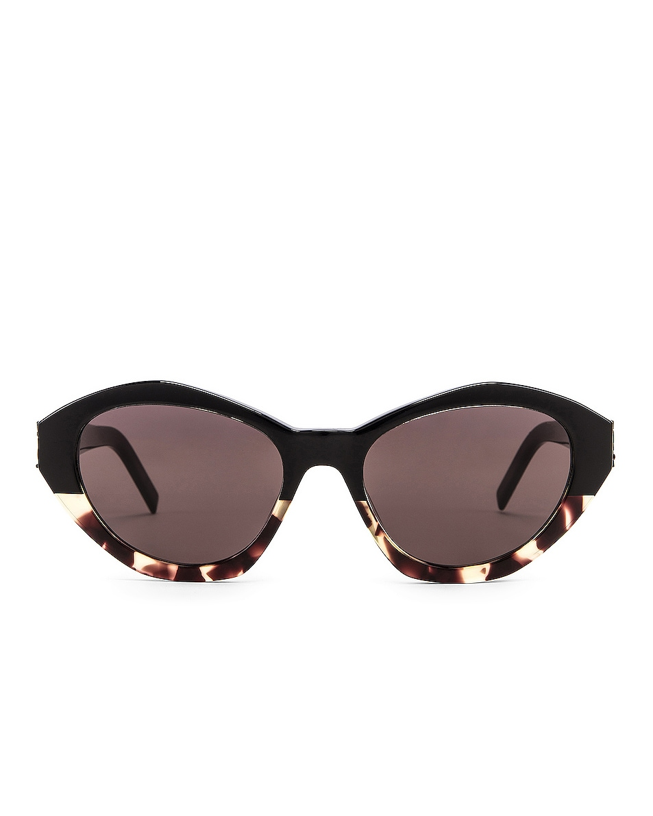 Image 1 of Saint Laurent Acetate Contemporary Sunglasses in Shiny Black & Yellow Havana
