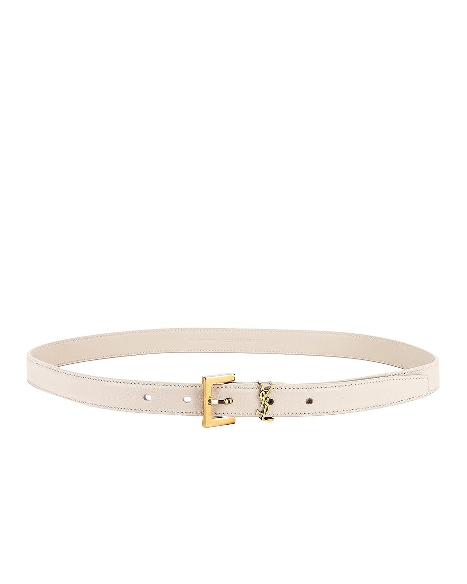 Image 1 of Saint Laurent Logo Leather Belt in Crema Soft