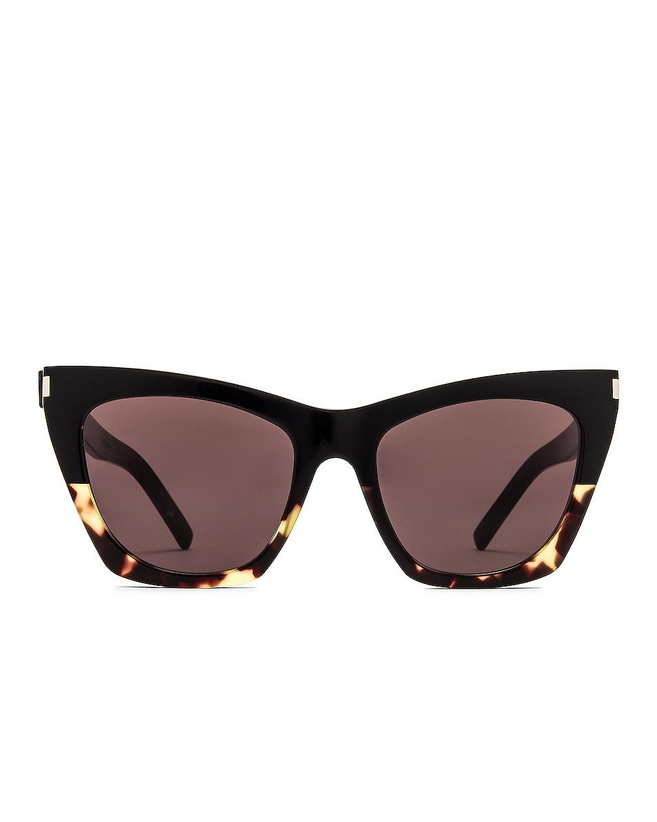 Image 1 of Saint Laurent Kate Cat Eye Sunglasses in Shiny Black Spotted Havana