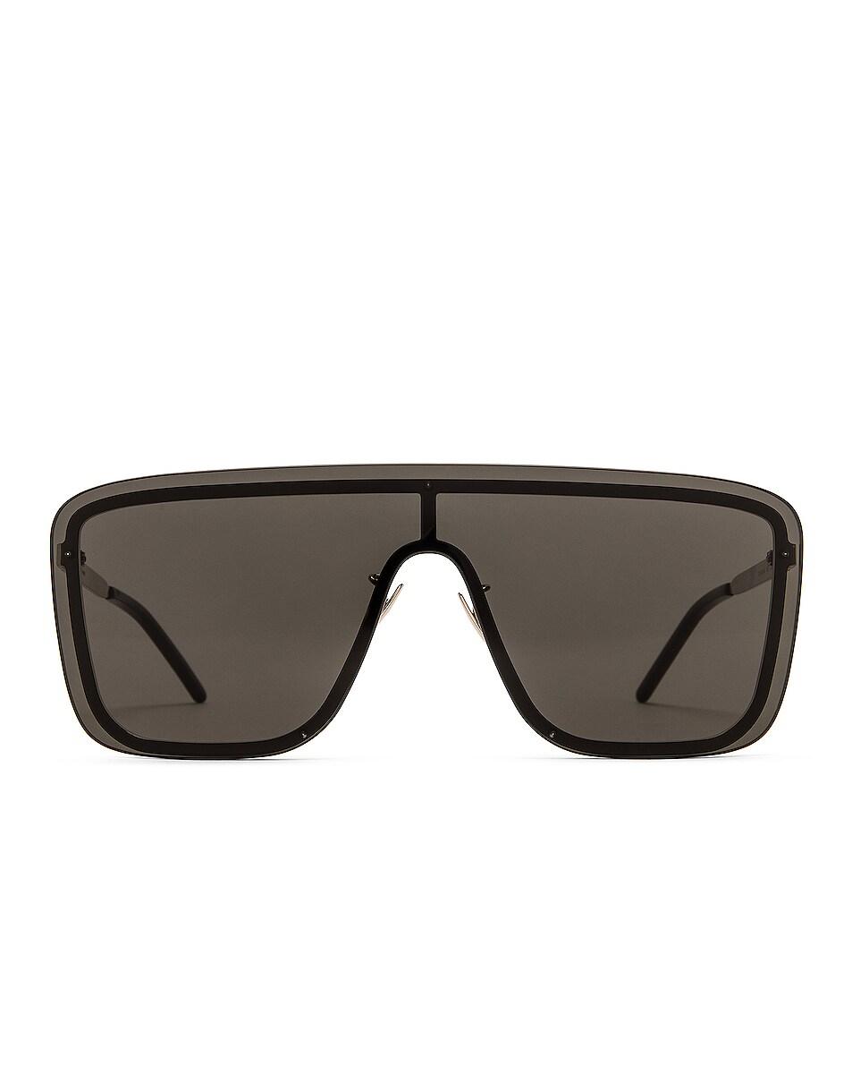 Image 1 of Saint Laurent Mask Ace Shield Sunglasses in Shiny Black