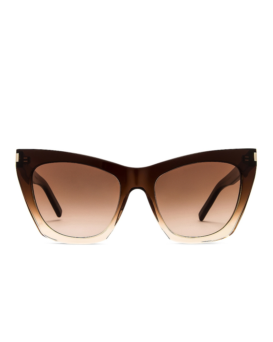 Image 1 of Saint Laurent Kate Sunglasses in Shiny Gradient Brown Nude