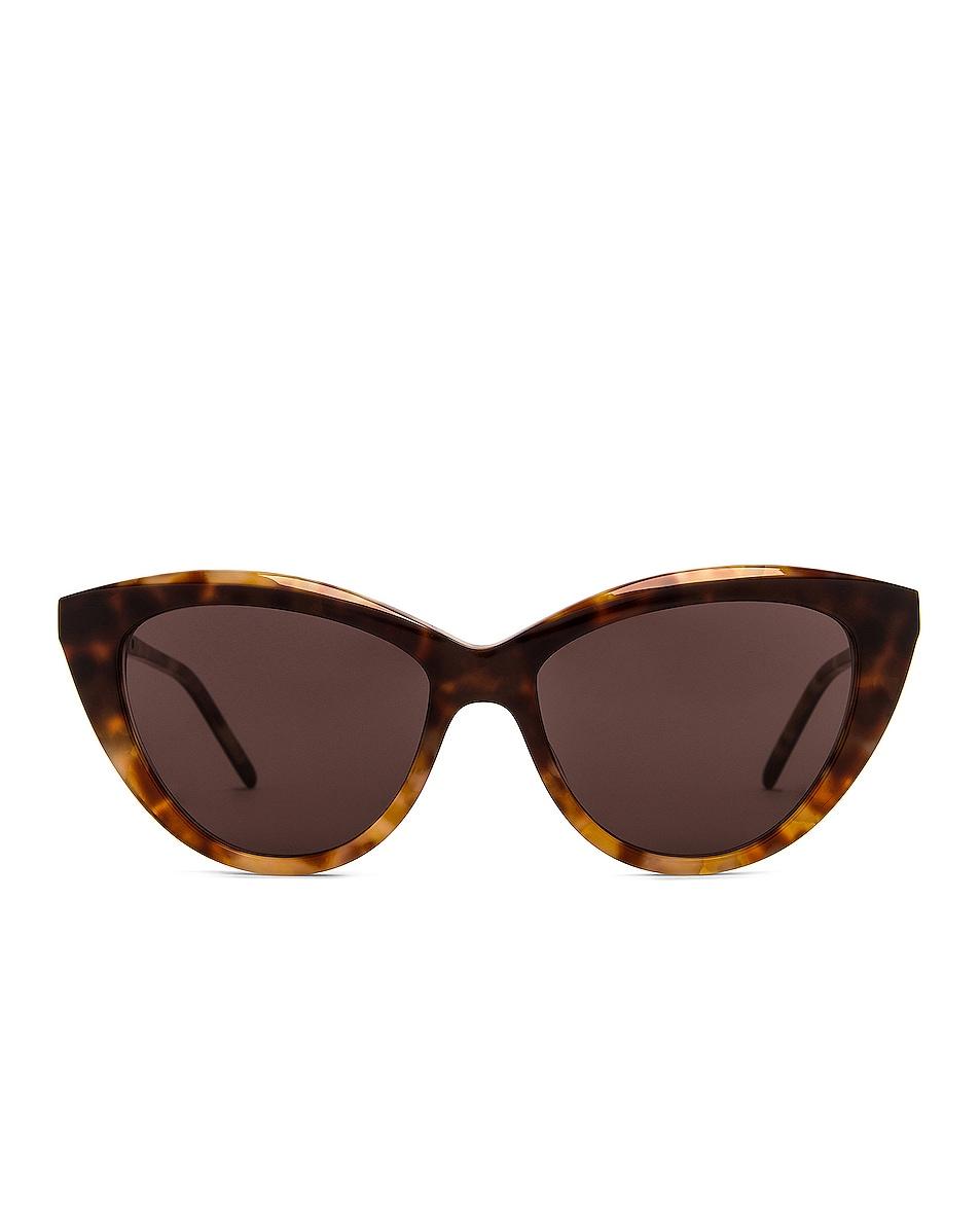 Image 1 of Saint Laurent Feminine Cat Eye Sunglasses in Gradient Brown Havana
