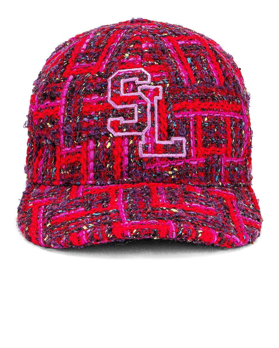 Image 1 of Saint Laurent Tweed Hat in Red & Light Purple