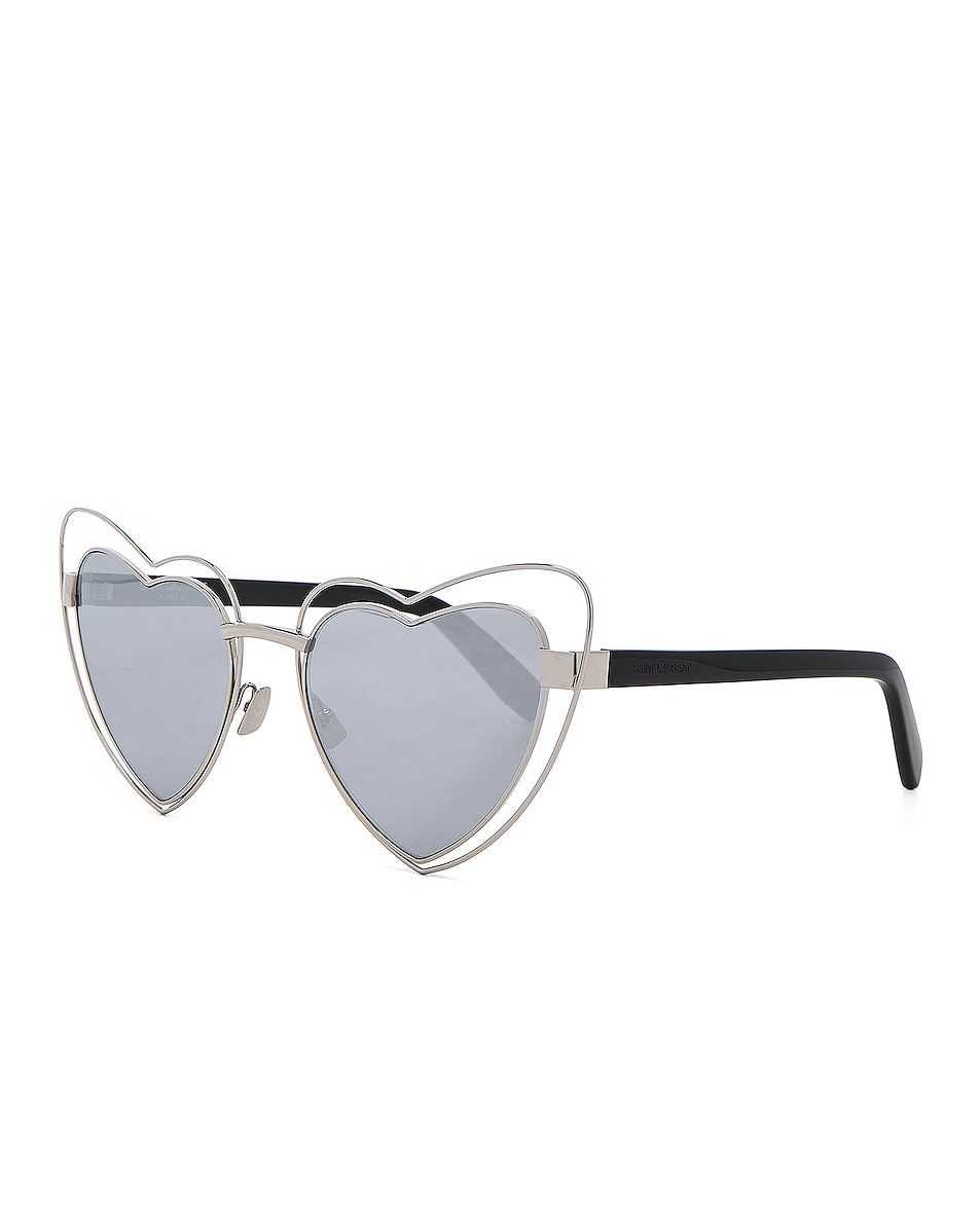 Image 2 of Saint Laurent Loulou Cut-Out Sunglasses in Silver