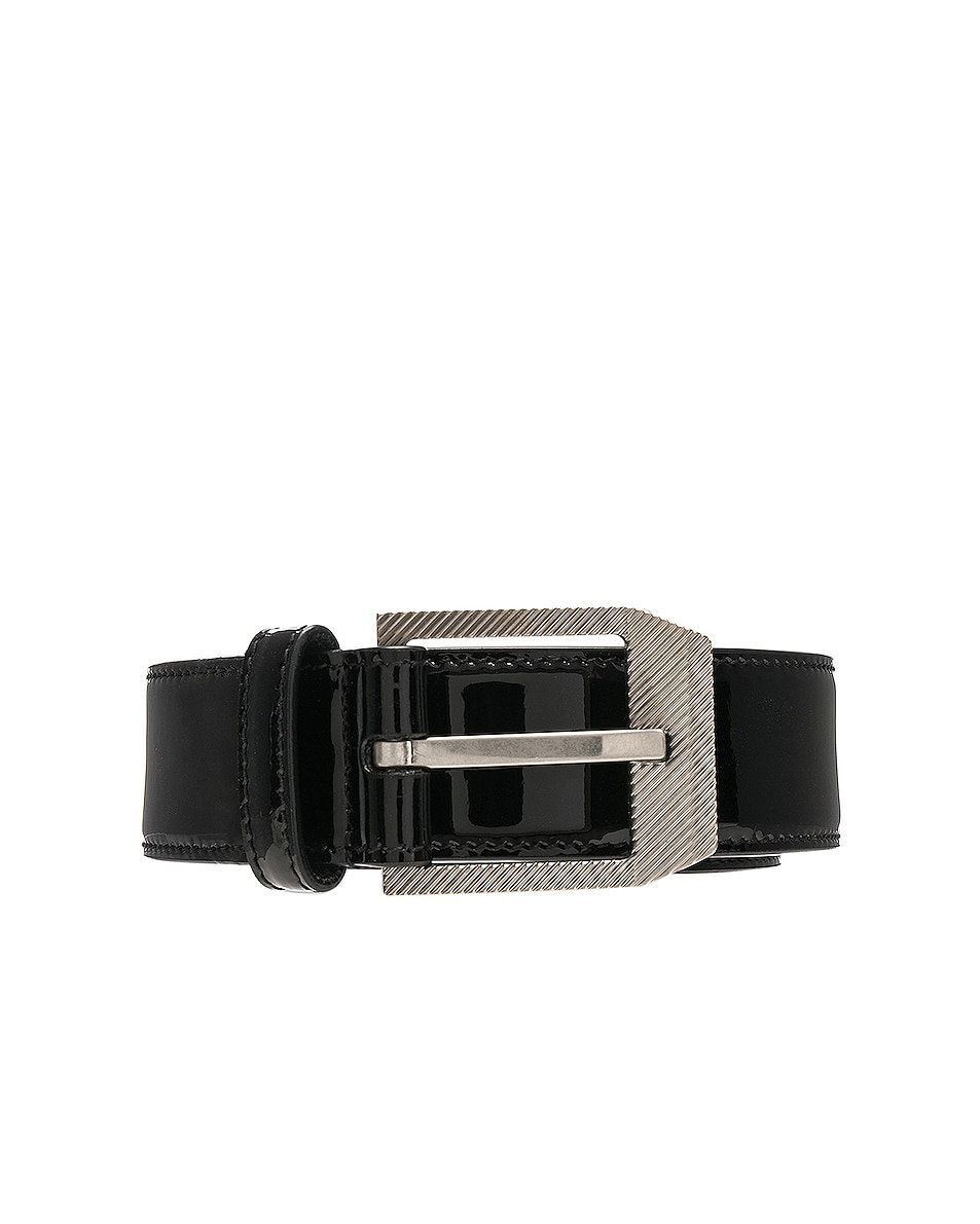 Image 1 of Saint Laurent Patent Rive Gauche Belt in Black