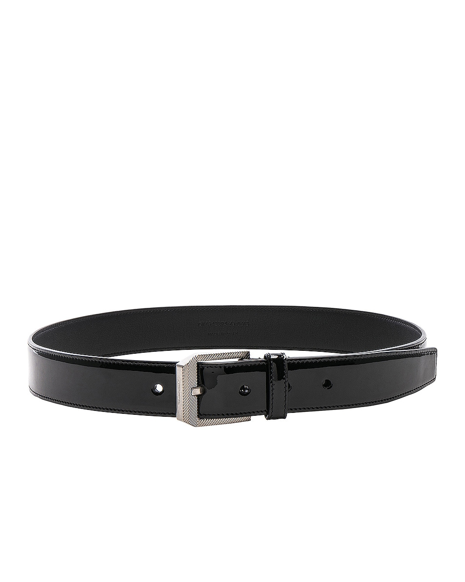 Image 2 of Saint Laurent Patent Rive Gauche Belt in Black