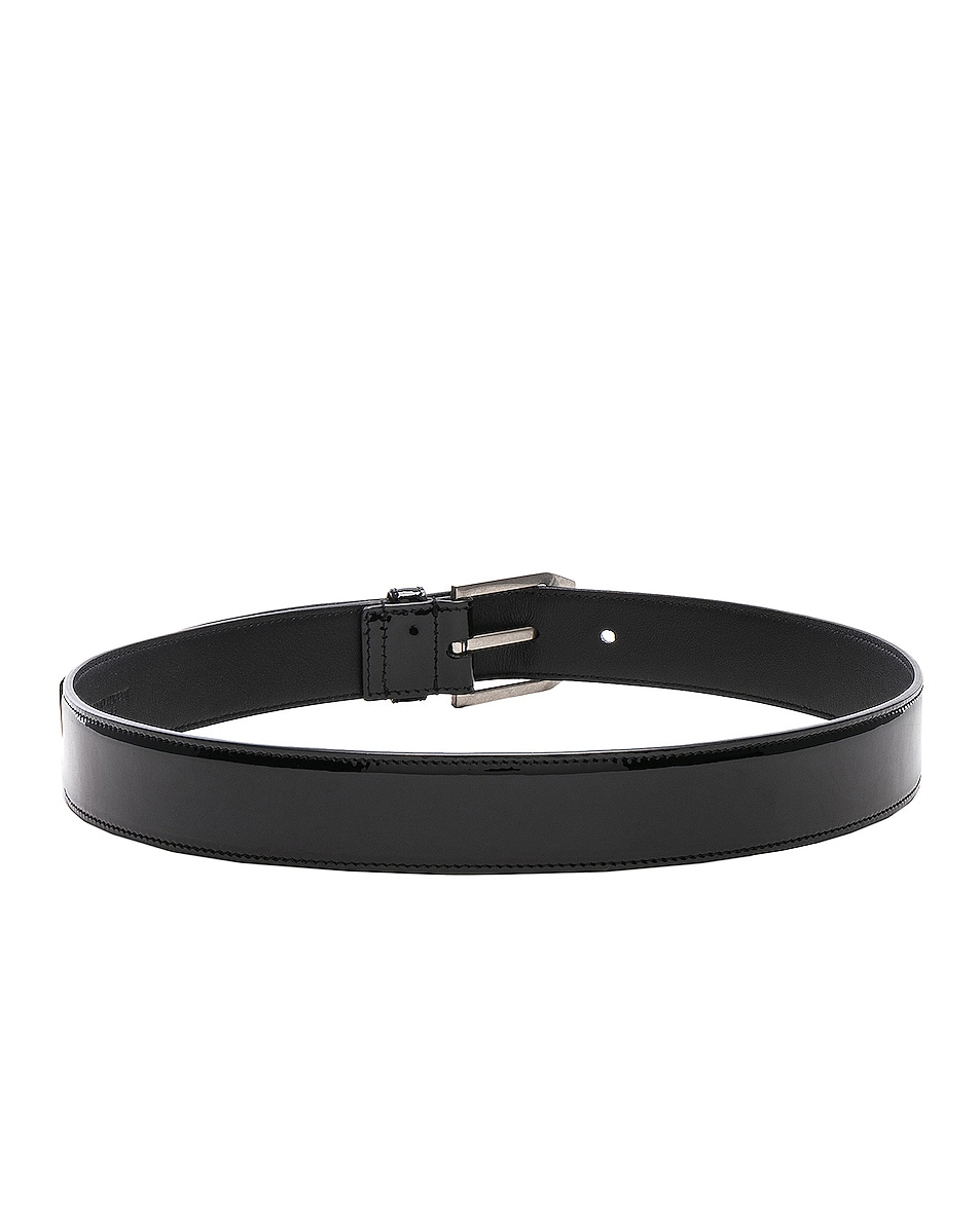 Image 3 of Saint Laurent Patent Rive Gauche Belt in Black