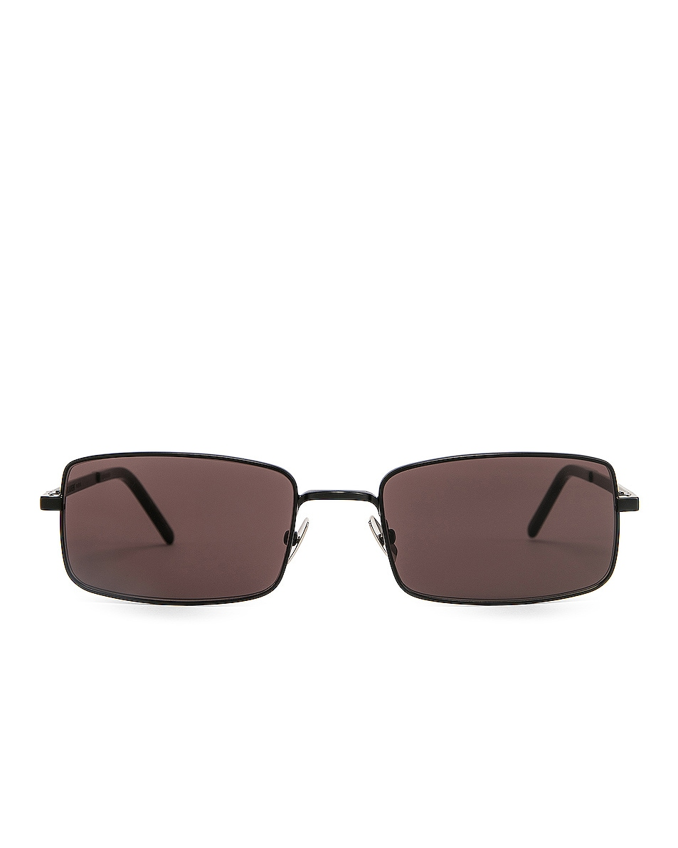 Image 1 of Saint Laurent Narrow Rectangular Sunglasses in Black