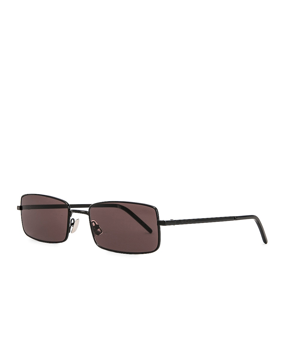 Image 2 of Saint Laurent Narrow Rectangular Sunglasses in Black