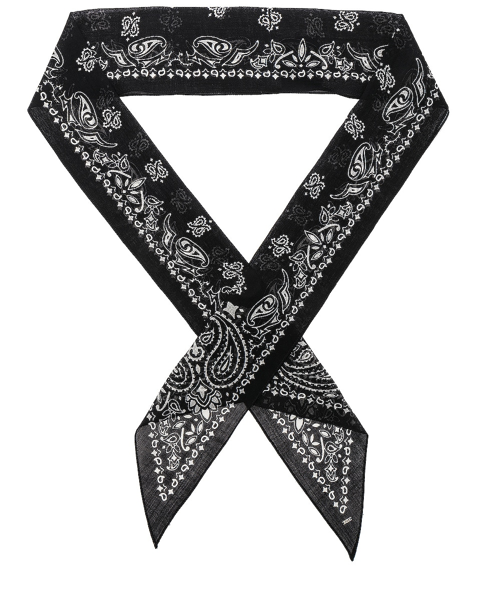 Image 1 of Saint Laurent Bandana Scarf in Black & Ivory