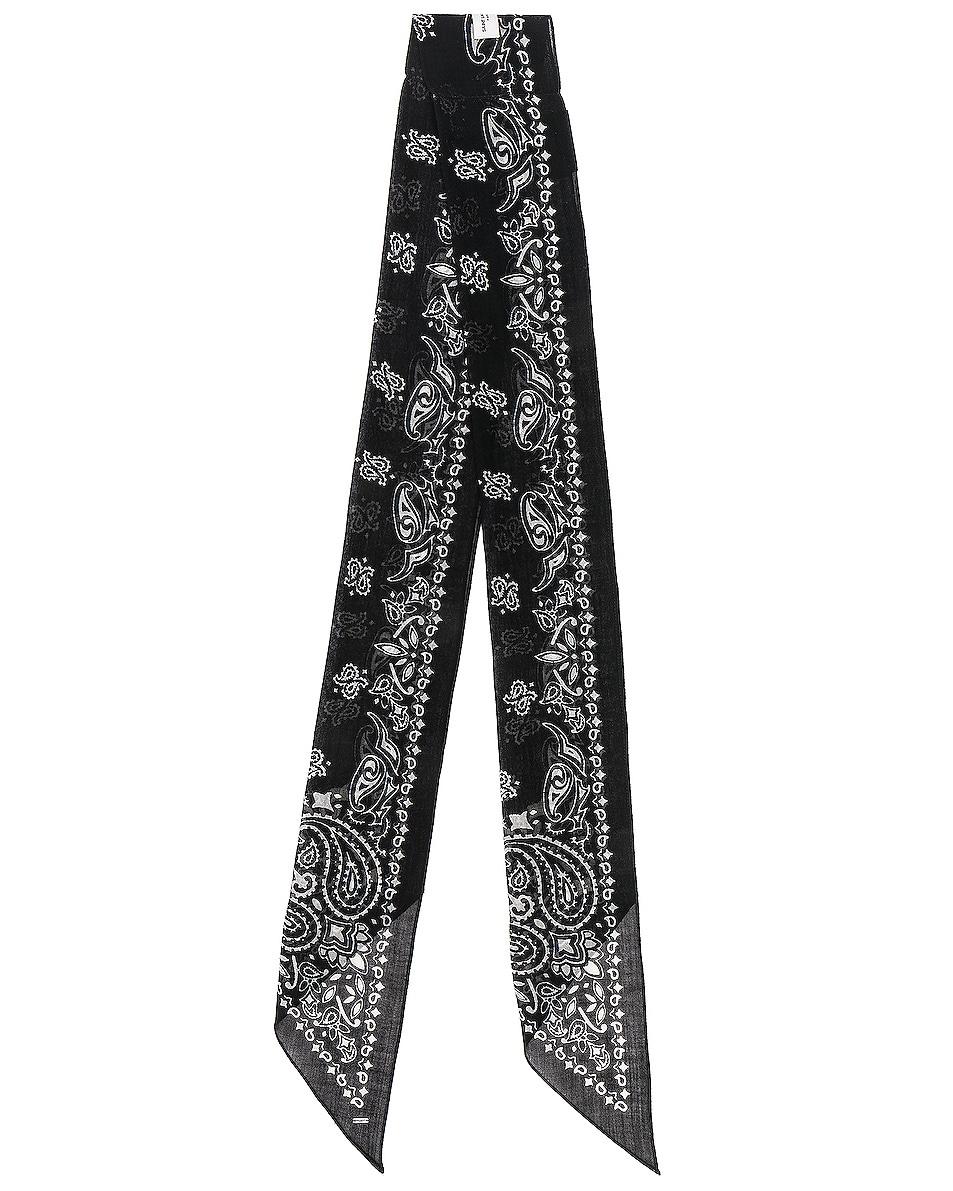 Image 2 of Saint Laurent Bandana Scarf in Black & Ivory