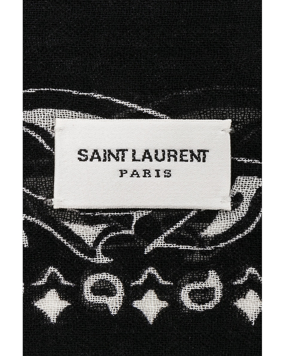 Image 3 of Saint Laurent Bandana Scarf in Black & Ivory