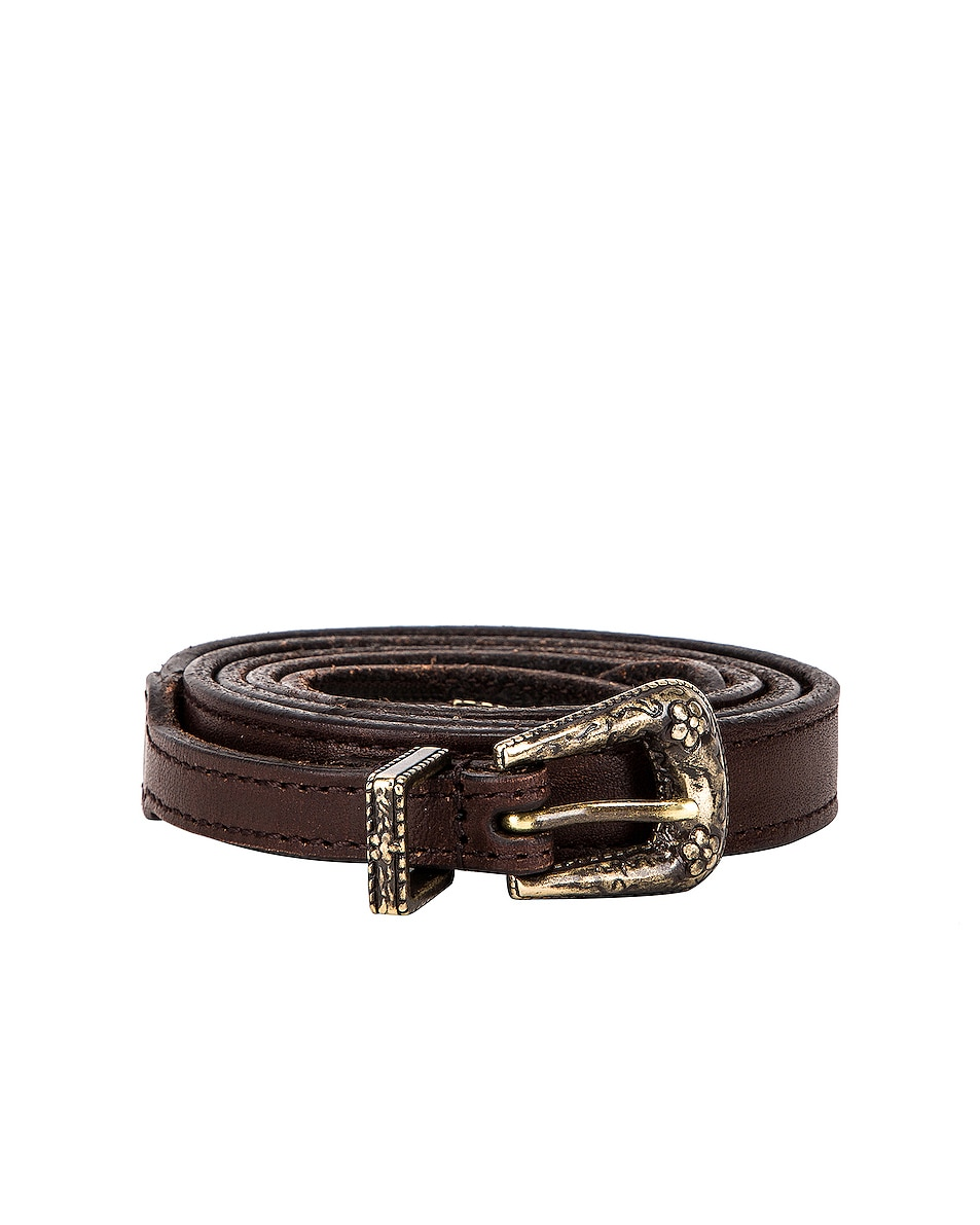 Image 1 of Saint Laurent Thin Western Leather Belt in Nut