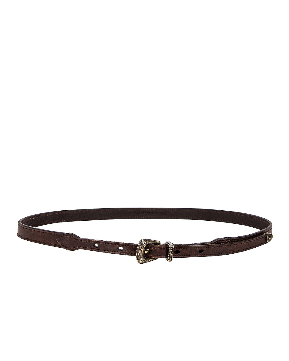 Image 2 of Saint Laurent Thin Western Leather Belt in Nut