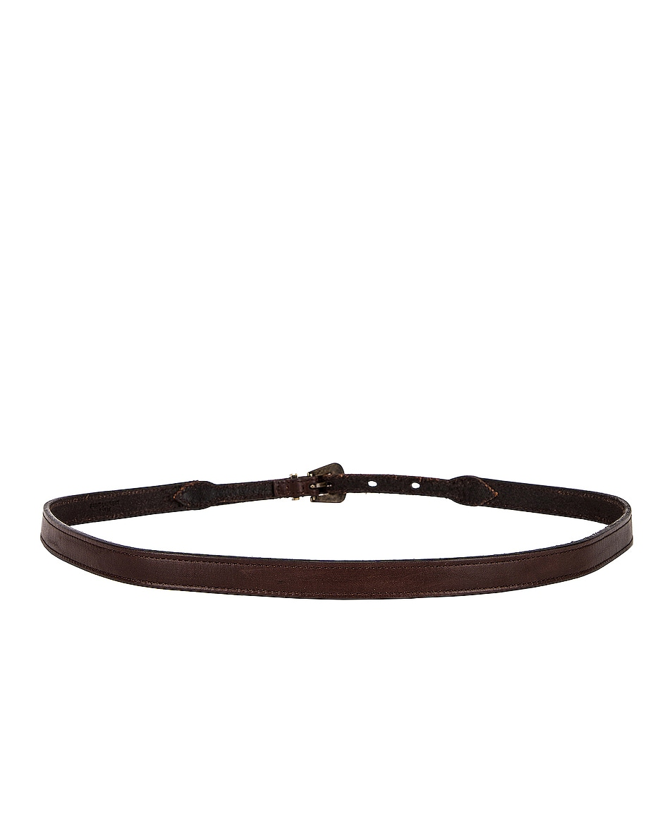 Image 3 of Saint Laurent Thin Western Leather Belt in Nut